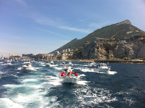 Ocean Village Diamond Jubilee Floatilla by the southern tip of Gibraltar